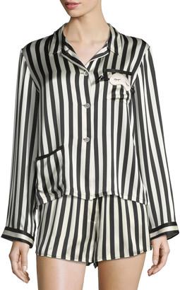 Morgan Lane Ruthie Long-Sleeve Striped Silk Pajama Top