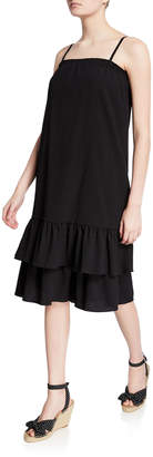MICHAEL Michael Kors Smocked Square-Neck Spaghetti-Strap Midi Flounce Dress