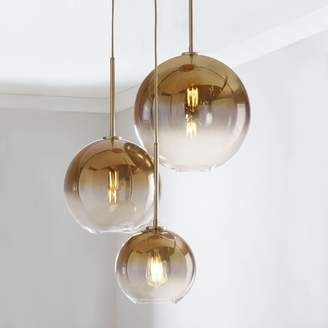 "west elm Sculptural Glass 3-Light Globe Chandelier - Metallic Ombre (21"")"