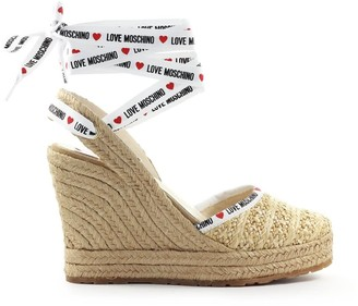 Love Moschino Beige Raffia Wedge Sandal