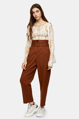 Topshop Womens Brown High Waist Belted Peg Trousers - Tobacco