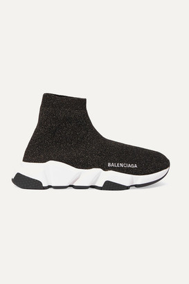 Balenciaga Speed Logo-embroidered Metallic Stretch-knit High-top Sneakers - Black