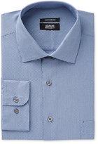 Alfani Men's Classic/Regular Fit Dark Blue Step Twill Texture Dress Shirt, Only at Macy's