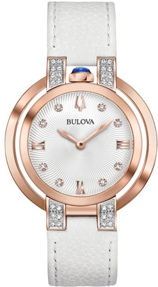 Bulova Women's Leather Diamond Watch