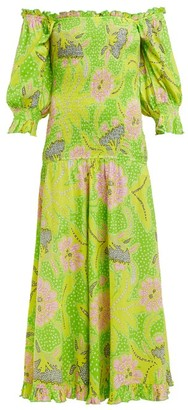 Rhode Resort Eva Off-the-shoulder Smocked-cotton Dress - Womens - Green Multi