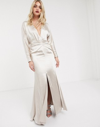 Asos Edition EDITION satin maxi dress with blouson sleeve and back detail-Cream