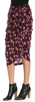 Band of Outsiders Cherry-Blossom-Print Gathered Asymmetric Skirt