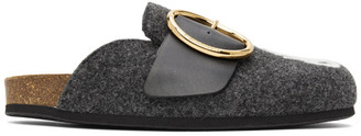 J.W.Anderson Grey Low Felt Buckle Slippers