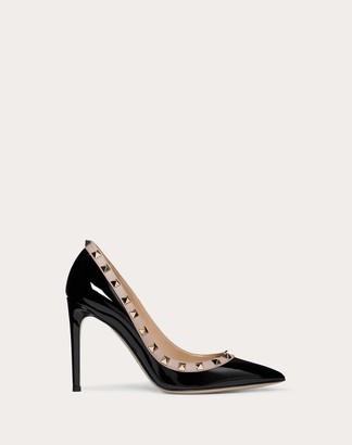 Valentino Rockstud Patent Leather Pump 100 Mm Women Black/poudre Calfskin 100% 37