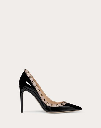 Valentino Rockstud Patent Leather Pump 100 Mm Women Poudre Calfskin 100% 39