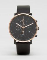 Skagen Hagen Chronograph Leather Watch In Black Skw6300
