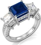 Metal Factory Sz 4 Sterling Silver 925 Princess Cut Blue & White Cubic Zirconia CZ Engagement Ring