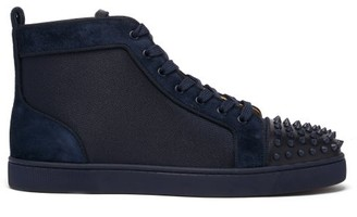 Christian Louboutin Louis Spike-embellished High-top Suede Trainers - Navy