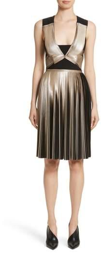 Yigal Azrouel Pleated Foil Dress