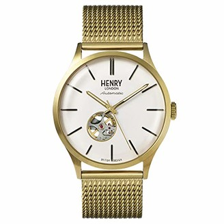 Henry London Mens Skeleton Automatic Watch with Stainless Steel Strap HL42-AM-0284