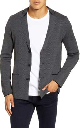 Stone Rose Herringbone Wool Blend Knit Blazer