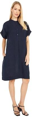 Eileen Fisher Stand Collar Short Sleeve Dress (Ink) Women's Dress
