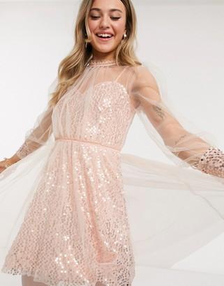 Forever U sequin skater mini dress with mesh overlay in rose gold
