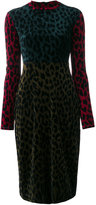 Odeeh colour block leopard print dress - women - Cotton/Polyamide/Viscose - 36