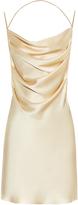 Saint Laurent Drape-front open-back silk dress