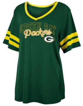5th & Ocean Women's Green Bay Packers Sleeve Stripe Slub T-Shirt