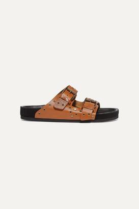 Isabel Marant Lennya Embellished Distressed Leather Slides - Neutral