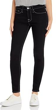 Frame Le Skinny Contrast-Stitch Jeans in Noir