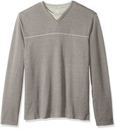 Van Heusen Men's Big and Tall Long Sleeve Jaspe Stripe Doubler V-Neck Shirt