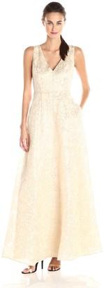 Erin Fetherston Erin Women's Gwendolyn Gold Metallic Floral Gown