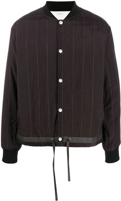 Oamc Brown Striped Bomber Jacket