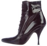 Rochas Pointed-Toe Lace-Up Booties