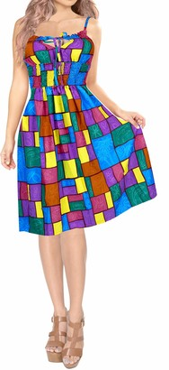LA LEELA Allover Printed Smocked Strap Backless Short Tube Dress Scary Purple