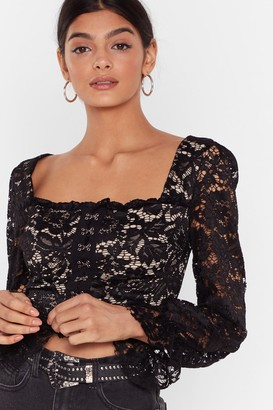 Nasty Gal Womens Lace Crop Top with Long Sleeves and Puff Shoulders - Black