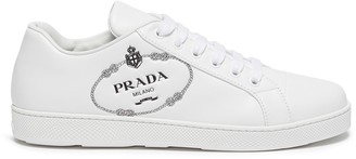 Prada Logo embossed low top lace-up leather sneakers