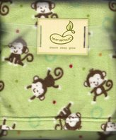 Beansprout Bean Sprout Mint Green Plush Baby Crib Blanket Monkey Monkeys