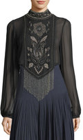 Haute Hippie Through The Looking Glass Beaded-Fringe Top