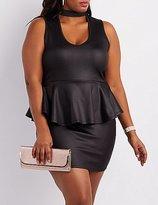 Charlotte Russe Plus Size Choker Neck Peplum Dress