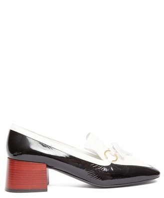 Loewe Square-toe Leather Block-heeled Loafers - Womens - Black White