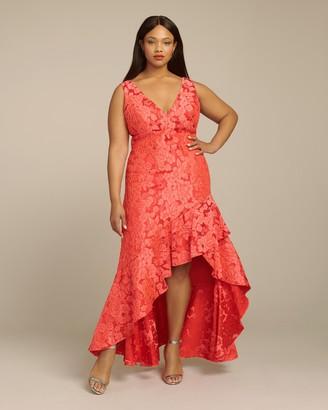 ML Monique Lhuillier Floral Tonal Jacquard V-Neck Asymmetrical Gown