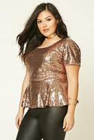 Forever 21 FOREVER 21+ Plus Size Sequin Peplum Top