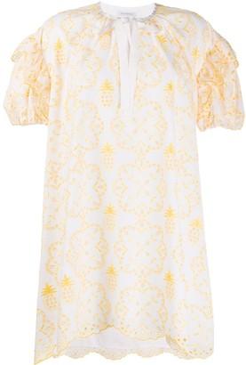 VIVETTA Embroidered Ruffle-Trim Dress