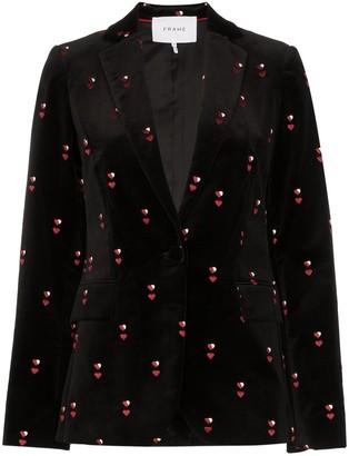 Frame heart-embroidered velvet blazer