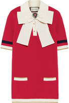 Gucci Bow-embellished Ribbed Wool-blend Sweater - Red