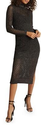 Reiss Antonella Metallic Long Sleeve Body-Con Sweater Dress