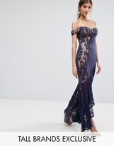 Jarlo Tall All Over Lace Off Shoulder Fishtail Maxi Dress