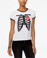 Mighty Fine Juniors' Skeleton Heart Graphic Ringer T-Shirt