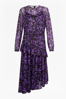Great Plains Abstract Floral Tiered Dress - XS / Abstract Floral - Purple/Black