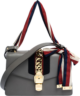 Gucci Grey Leather Small Web Chain Sylvie Shoulder Bag