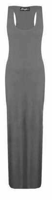 REAL LIFE FASHION LTD Ladies New Plain Sleeveless Scoop Neck Racer Back Womens Plus Size Long Jersey Summer Maxi Dress Black Size 16-18