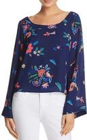 Aqua Floral-Printed Bell-Sleeve Top - 100% Exclusive